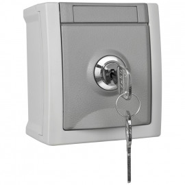 Steckdose, 1 fach, Aufputz, Feuchtraum, abschließbar, Schließung 6, IP54, grau/dunkelgrau