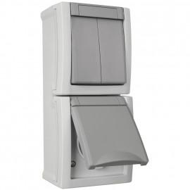 Serien Schalter / Steckdose Kombi, Aufputz, Feuchtraum, senkrecht, IP54, grau/dunkelgrau