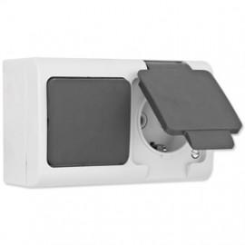 Steckdose, Aus / Wechsel Schalter 2 fach Aufputz / Feuchtraum  grau / dunkelgrau, IP44