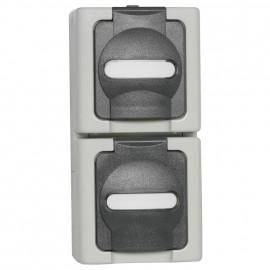 Steckdose, Aufputz, Feuchtraum, Aufputz, 2 Fach, senkrecht, grau - hellgrau, IP44, Kopp Blue Electric