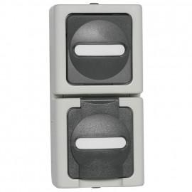 Kombi Schalter - Wechsel / Steckdose, Aufputz, Feuchtraum, senkrecht, grau - hellgrau, IP44, Kopp