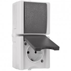 Kombi Wechsel - Schalter / Steckdose, senkrecht, Aufputz, Feuchtraum, IP44, Kopp