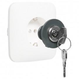 Verriegelung für Schutzkontakt Steckdosen, grau, verschiedene Schließungen