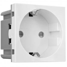 Modul Einsatz Schutzkontakt Steckdose für Boden Einbau Steckdose, reinweiß, Klein