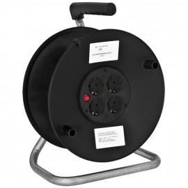 Kabeltrommel mit 4 Schutzkontakt-Steckdosen, leer für 50 m Kabel