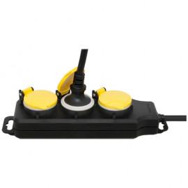 Steckdosenleiste, 3 fach, 3 x 1,5²mm, 1,5 m, IP44, schwarz/gelb mit Klappdeckel