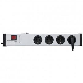 FI Schutzschalter Steckdosenleiste, 4-fach, 3 x 1,5², 1,5 m, grau/schwarz, mit Schalter