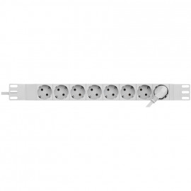 Steckdosenleiste, 8 fach, Aluminiumgehäuse PROFIVERSAL, 3 x 1,5²mm, 2 m, grau