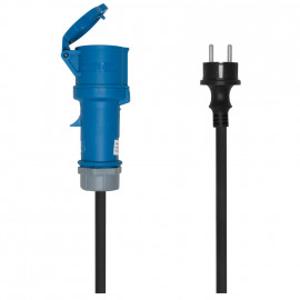 CEE Adapterleitung, Schutzkontakt Stecker auf CEE, 3-polig, 16A/230V, IP44