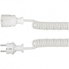 Schutzkontakt Wendel Verlängerung, CS-H05 VV-F 3G x 1,5²mm, bis 2 m, weiß