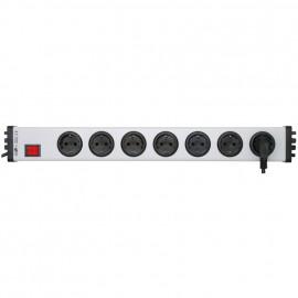Steckdosenleiste, 7 fach, 3 x 1,5²mm, 1,5 m, grau/schwarz, mit Schalter mit Kinderschutz
