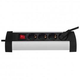 Steckdosenleiste, 4 fach, 3 x 1,5²mm, 1,5 m, schwarz, mit Schalter Gehäuse 45° abgewinkelt