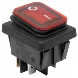 Einbau Wippschalter Rot, 250V / 16 (8)A, 2 pol Temoeratur bis 120°, IP65