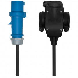 CEE Adapterleitung, CEE Stecker 16A, 3-polig auf Dreiwege Schutzkontakt Kupplung
