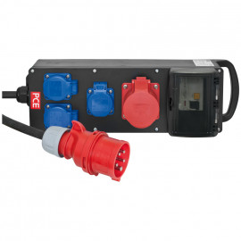 Gummi CEE Blockverteiler bestückt mit: 1 FI-Schalter 4-polig 40A/0,03 - PCE