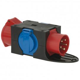 CEE Adapterstecker, 16A, CEE auf CEE Kupplung 16A und 2 Schutzkontakt Steckdosen
