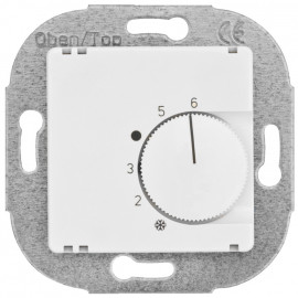 Raumthermostat, Kombi, Wechsler, 10A (4A), +5° bis +30°, Zentralplatte 50 x 50 mm reinweiß