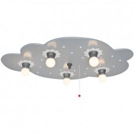 Kinderzimmerleuchte, Deckenleuchte, 5 x E14 / 40W und 20 LEDs / 0,07W mit Zugpendel