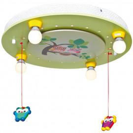 Kinderzimmerleuchte, Deckenleuchte, 4 x E14 / 20W mit Eulenmobilè
