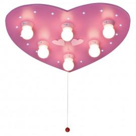 Kinderzimmerleuchte, Motiv Herz  Deckenleuchte, 6 x E14 / 40W und 20 LEDs