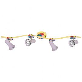 Kinderzimmerleuchte, Schiene, STARLINE, 4 x E14 / 40W-R50 mit Blumen, Käfern, Herzchen
