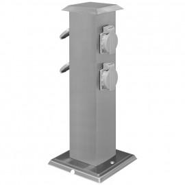 Steckdosensäule,  4 Steckdosen 230V / 16A anthrazit Länge 80 mm, Breite 80 mm, Höhe 400 mm
