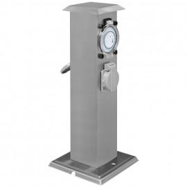 Steckdosensäule, mit 2 Steckdosen 230V / 16A und Zeitschaltuhr Höhe 400 mm