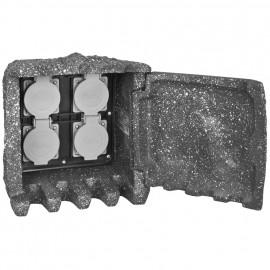 Steckdosenverteiler mit Tür, 4 Steckdosen 230V / 16A Steinmehlkunstharzmischung