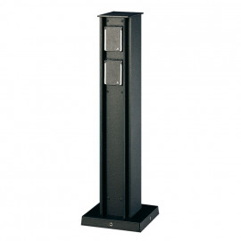 Steckdosensäule, 4 Steckdosen Aludruckguss schwarz Höhe 500mm