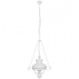 Pendelleuchte, Wohnraumleuchten 1 x E27 / 75W Metall / Holz weiß lackiert Glas klar/weiß