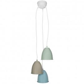 Pendelleuchte, Wohnraumleuchten 3 x E14 / 40W Metall pastell hellbraun / blau / grün