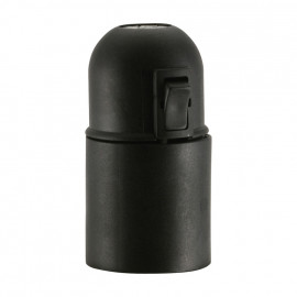 E27 Iso Fassung schwarz ohne Außengewinde mit Wippschalter