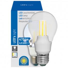 LED Lampe, AGL Form, E27 / 4,8W, klar, 470 lm, 3000K, Länge 110 mm, Ø 60 mm
