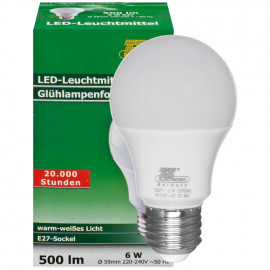 LED Lampe, AGL LED CLASSIC, E27 / 6W, satiniert, 500 lm, 2700K TS Electronic