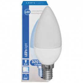 LED Lampe, Kerze, E14 / 4W, matt, 320 lm, LED's light
