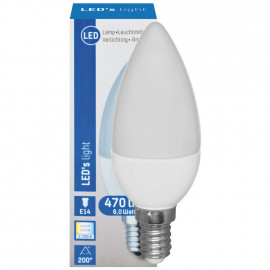 LED Lampe, Kerze, E14 / 6W, matt, 470 lm, LED's light