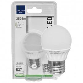 LED Lampe, Tropfen, E27 / 3W, opal, 250 lm, Müller Licht