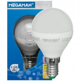 LED Lampe, Tropfen, LED-Classic, E14 / 5,5W, matt, 470 lm, Megaman