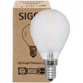 LED Fadenlampe, Tropfen, E14 / 4W, matt, 350 lm, dimmbar, Sigor