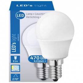 LED Lampe, Tropfen, E14 / 6W, matt, 470 lm, LED's light