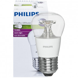 LED Lampe, Tropfen, COREPRO LEDluster, E27 / 5,5W, klar, 470 lm, Philips