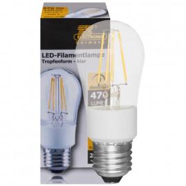 LED Fadenlampe, Tropfen, E27 / 4,5W, klar, 470 lm, TS Electronics