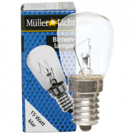 Kühlschranklampe, E14 / 15W, Birnenform, klar Müller Licht