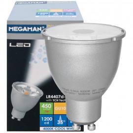 LED Lampe, Reflektor, PAR16, GU10 / 7W, 450 lm, 1200cd, 4000K, Megaman