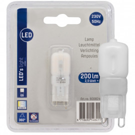LED Lampe, Stift Sockel, G9 / 2,5W, 200 lm, 3000K, LED's light
