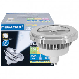 LED Lampe, Reflektor, GU10 / 15W, 950 lm, 5000cd, 2800K, Megaman