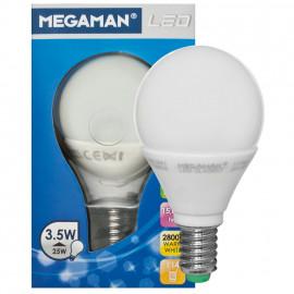 LED Lampe, Tropfen, LED CLASSIC, E14 / 3,5W, opal, 250 lm, Megaman