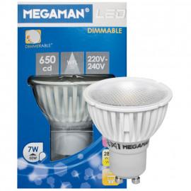 LED Lampe, Reflektor, PAR16, GU10 / 7W, 500 lm, 650cd, 2800K, Megaman