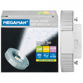 LED Lampe, Reflektor, Flood 60°, GX53 / 5W, 350cd, 2800K, Megaman