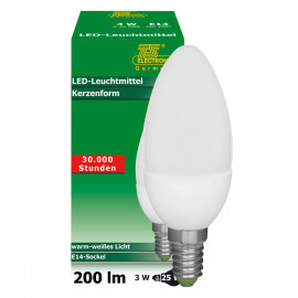 LED Lampe, Kerze, E14 / 3W, opal, 200 lm, dimmbar, TS-Electronic